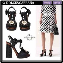 Dolce & Gabbana Flower Patterns Open Toe Leather Block Heels With Jewels