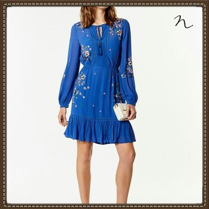 Short Long Sleeves Plain Party Style Dresses