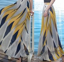Flared Skirts Stripes Tropical Patterns Casual Style Long