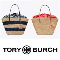 Tory Burch Stripes Casual Style Straw Bags