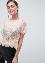 ASOS Flower Patterns Casual Style Short Sleeves Lace With Jewels
