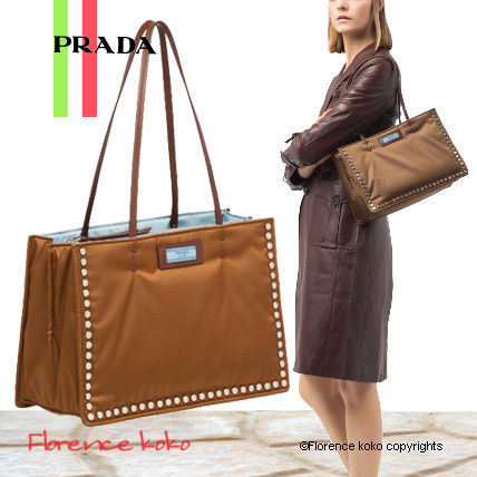 PRADA Totes Casual Style Nylon Studded Bi-color Plain Totes