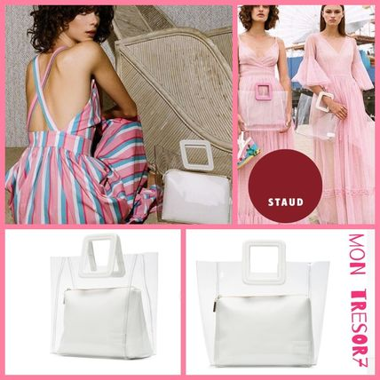 Casual Style Plain Crystal Clear Bags PVC Clothing Totes