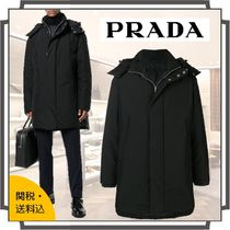 PRADA Blended Fabrics Street Style Bi-color Plain Long Parkas