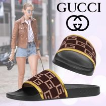 GUCCI Open Toe Platform Casual Style Shower Shoes Flat Sandals