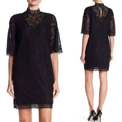 Short A-line Plain High-Neck Lace Puff Sleeves Dresses