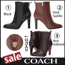 Coach Plain Block Heels Elegant Style Ankle & Booties Boots