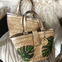 Michael Kors Tropical Patterns Casual Style Straw Bags