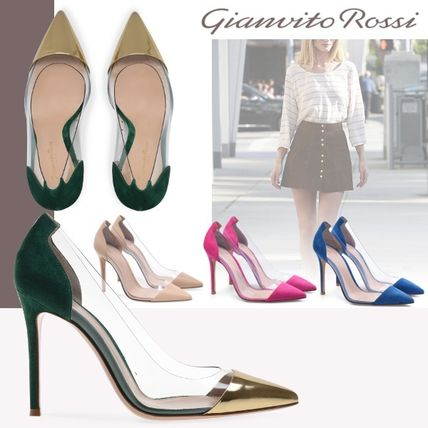Plain Pin Heels PVC Clothing Stiletto Pumps & Mules