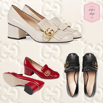 GUCCI GG Marmont Round Toe Blended Fabrics Plain Leather Block Heels Fringes
