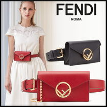 FENDI 2WAY Chain Leather Elegant Style Shoulder Bags