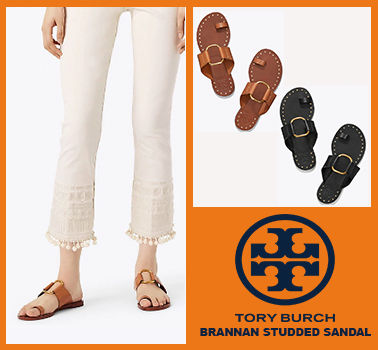 3fc5c09eb69c ... Tory Burch More Sandals Open Toe Studded Plain Leather Elegant Style  Sandals ...