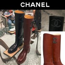 CHANEL 18AW CHANEL LEATHER CC LOGO HIGH BOOTS