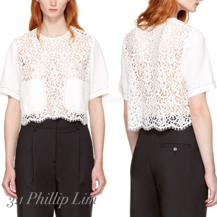 Short Lace-up Short Sleeves Cropped