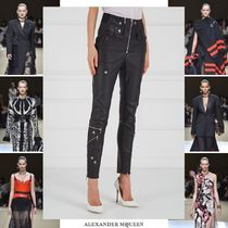 alexander mcqueen Street Style Plain Leather Long Leather & Faux Leather Pants
