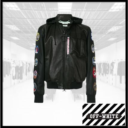 original shop for official special discount of Off-White Short Leather Biker Jackets
