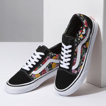 VANS OLD SKOOL Flower Patterns Plain Toe Rubber Sole Lace-up Casual Style