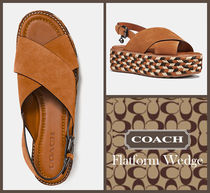 Coach Open Toe Platform Suede Blended Fabrics Footbed Sandals