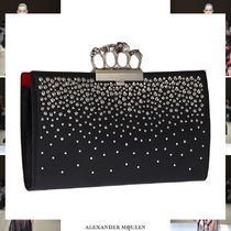alexander mcqueen Plain Leather With Jewels Clutches