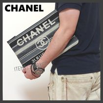 CHANEL Stripes Unisex Street Style Clutches