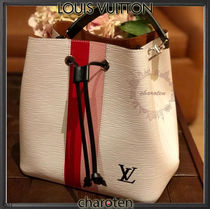 Louis Vuitton NEONOE Stripes Calfskin Tassel Plain Purses Elegant Style
