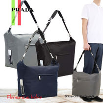 PRADA Casual Style Unisex Nylon A4 Plain Shoulder Bags