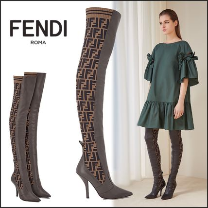 1262be9d FENDI 2018-19AW Monogram Leather Pin Heels Elegant Style Over-the-Knee  Boots (8W6620A3GXF13CT)