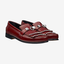 HERMES Casual Style Studded Plain Leather Loafer Pumps & Mules