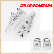 Dolce & Gabbana DOLCE Unisex Street Style Plain Leather Sneakers
