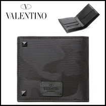 VALENTINO Camouflage Nylon Plain Folding Wallets