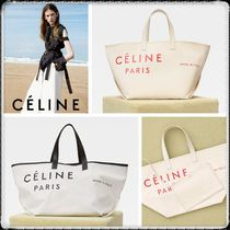 CELINE Casual Style Calfskin Blended Fabrics Totes