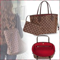Louis Vuitton NEVERFULL Other Check Patterns Canvas Blended Fabrics A4 Bi-color
