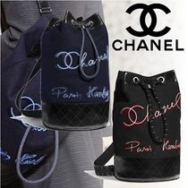 CHANEL Casual Style Calfskin Blended Fabrics Chain Purses Backpacks
