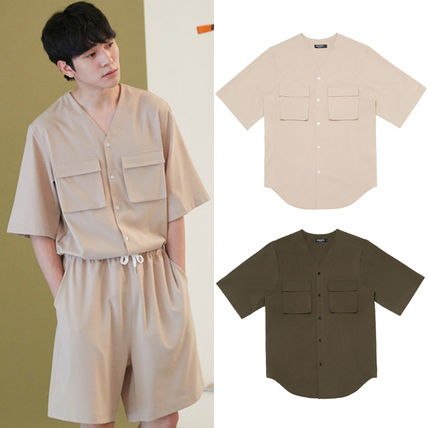 Unisex Plain Short Sleeves Khaki Shirts