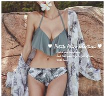 Tropical Patterns Street Style Plain Halter Beach Cover-Ups