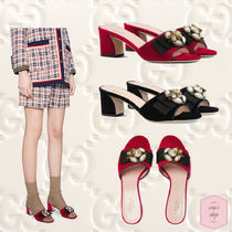 GUCCI Open Toe Velvet Blended Fabrics Plain Other Animal Patterns