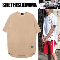 SHETHISCOMMA Pullovers Studded Street Style U-Neck Cotton Short Sleeves
