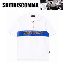 SHETHISCOMMA Pullovers Studded Street Style V-Neck Cotton Short Sleeves