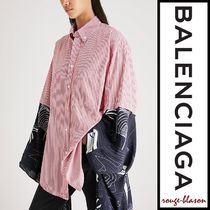 BALENCIAGA Stripes Casual Style Blended Fabrics Cotton Medium