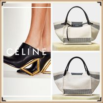 CELINE Stripes Casual Style Canvas Blended Fabrics Totes