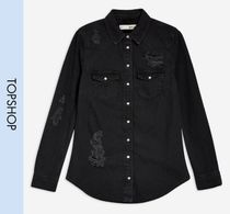 TOPSHOP Casual Style Denim Long Sleeves Shirts & Blouses