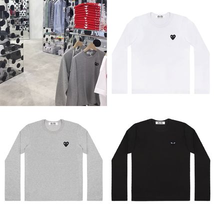 COMME des GARCONS Long Sleeve Heart Unisex Street Style U-Neck Long Sleeves Plain Cotton