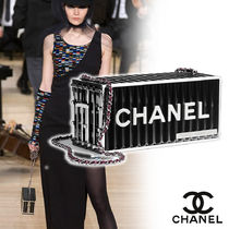 CHANEL Blended Fabrics Vanity Bags Chain Plain Home Party Ideas