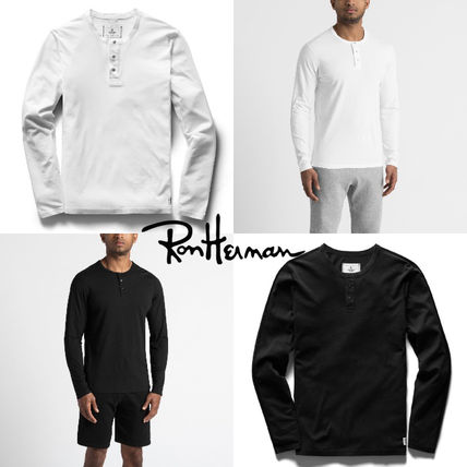 Pullovers Henry Neck Street Style Long Sleeves Plain Cotton