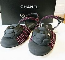 CHANEL Plain Toe Tweed Sandals