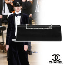 CHANEL Blended Fabrics Vanity Bags Plain Party Style