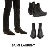 Saint Laurent Casual Style Plain Leather Chunky Heels