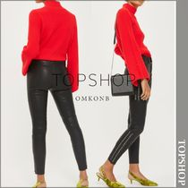 TOPSHOP Plain Leather Long Leather & Faux Leather Pants