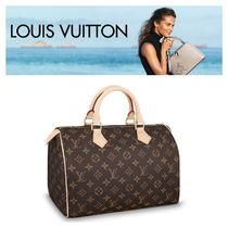 Louis Vuitton SPEEDY Monoglam Unisex A4 Leather Elegant Style Boston & Duffles
