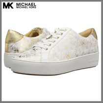 Michael Kors Flower Patterns Round Toe Lace-up Casual Style Leather